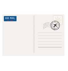 postcard back side with mail stamp vector image vector image