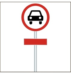 Red Sign with Car - vector image vector image