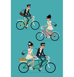 Set of a couple on a bike vector