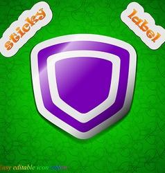 Shield icon sign symbol chic colored sticky label vector