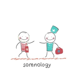 somnology treats a patient vector image vector image