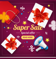super sale banner card or poster vector image