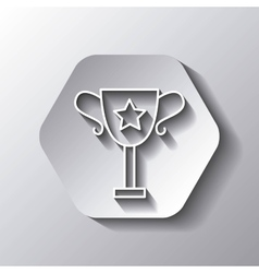 Trophy icon winner design over hexagon vector