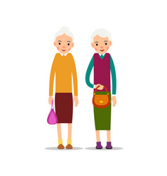two old woman two senior elder women with vector image vector image