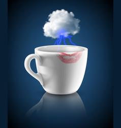 White cup with lipstick print vector