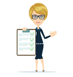Woman with the clipboard questionnaire vector