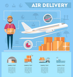world air delivery service poster vector image vector image