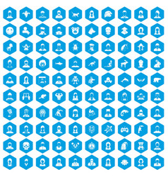 100 avatar icons set blue vector