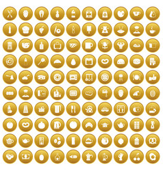 100 breakfast icons set gold vector