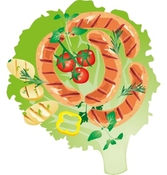 Bright juicy grilled sausage on a lettuce leaf vector