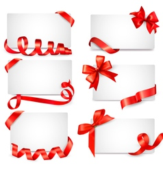 Set of card notes with red gift bows with ribbons vector image
