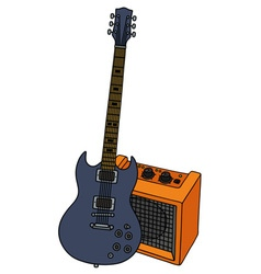 Electric guitar and the orange combo vector