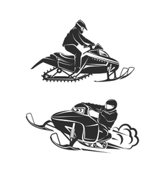 Snowmobiling Silhouette on white background vector image