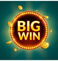 Big win glowing retro banner for online casino vector