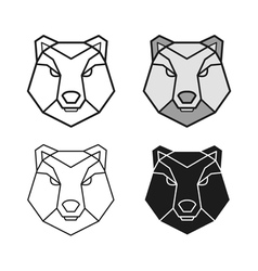 Bear geometric head set vector