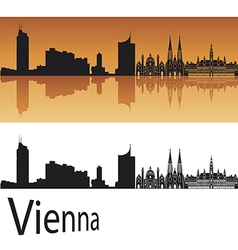 Vienna skyline in orange background vector