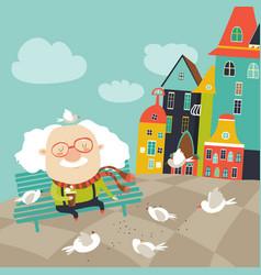 Old man feeding pigeons vector
