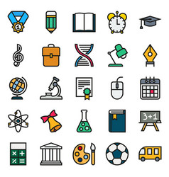 color simple icon collection school education vector image