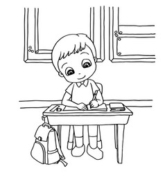 Kids do homework in class cartoon coloring page ve vector