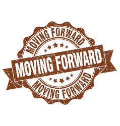Moving forward stamp sign seal vector