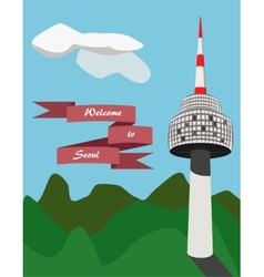 Seoul tower in south korea vector