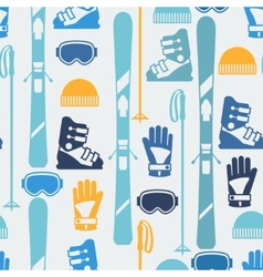 Sports seamless pattern with skiing equipment flat vector