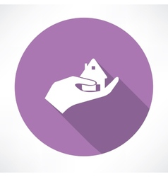 House in hand icon vector