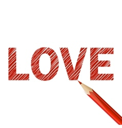Love word drawn with red pencil vector