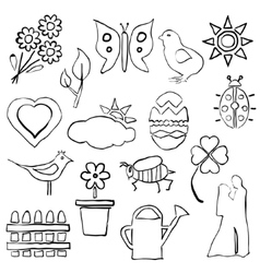 Doodle spring images vector