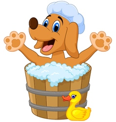 Cartoon dog bathing in the dog bathing vector