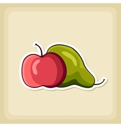 Apple and pear icon harvest thanksgiving vector