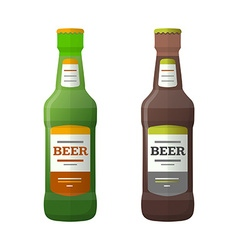 Colored flat light and dark couple beer bottles vector