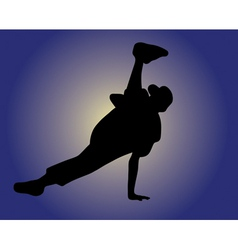 Silhouette of hip hop dancer vector