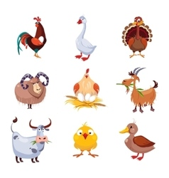 Farm animal and birds set vector