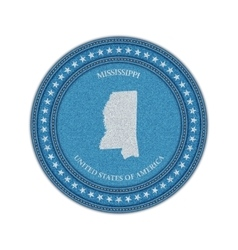 Label with map of mississippi Denim style vector image