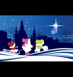 Children in the christmas city vector