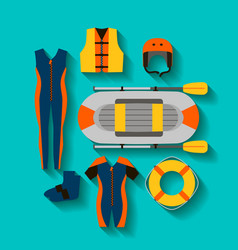 Conceptual icon set for rafting vector