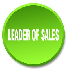 Leader of sales green round flat isolated push vector