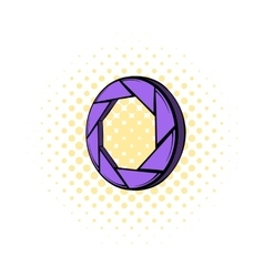 Violet camera aperture icon comics style vector