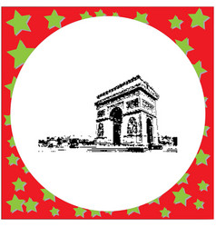 Black 8-bit arc de triomphe at paris france vector