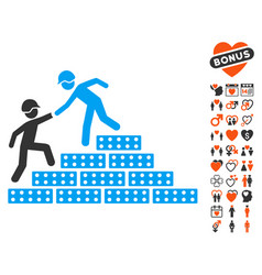 Builder stairs help icon with love bonus vector