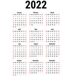 calendar for 2022 vector image