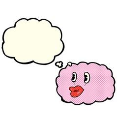 Cartoon cloud symbol with thought bubble vector