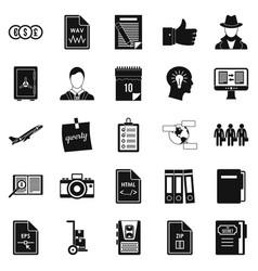 Debenture stock icons set simple style vector