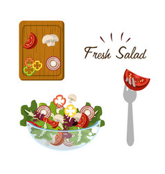 delicious fresh vegetable and health salad vector image