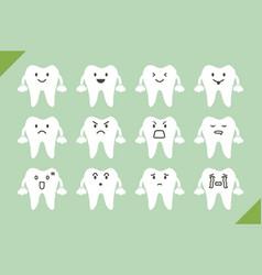 Dental set - cute cartoon tooth for design vector