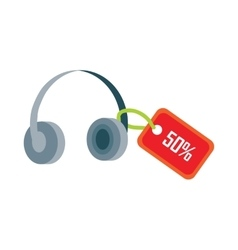 Earphones with red sale tag fifty percent discount vector