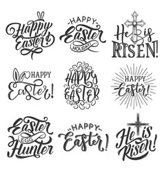 Easter holiday badge of egg rabbit ear and cross vector