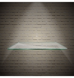 Empty advertising glass shelf withh a spot lignt vector image