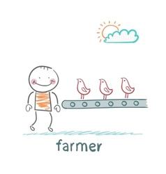 Farmer grows chickens vector
